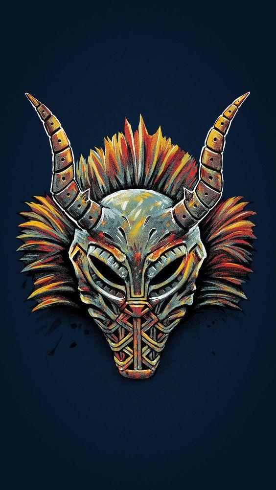 Black Panther Killmonger Tribal Mask Wallpaper