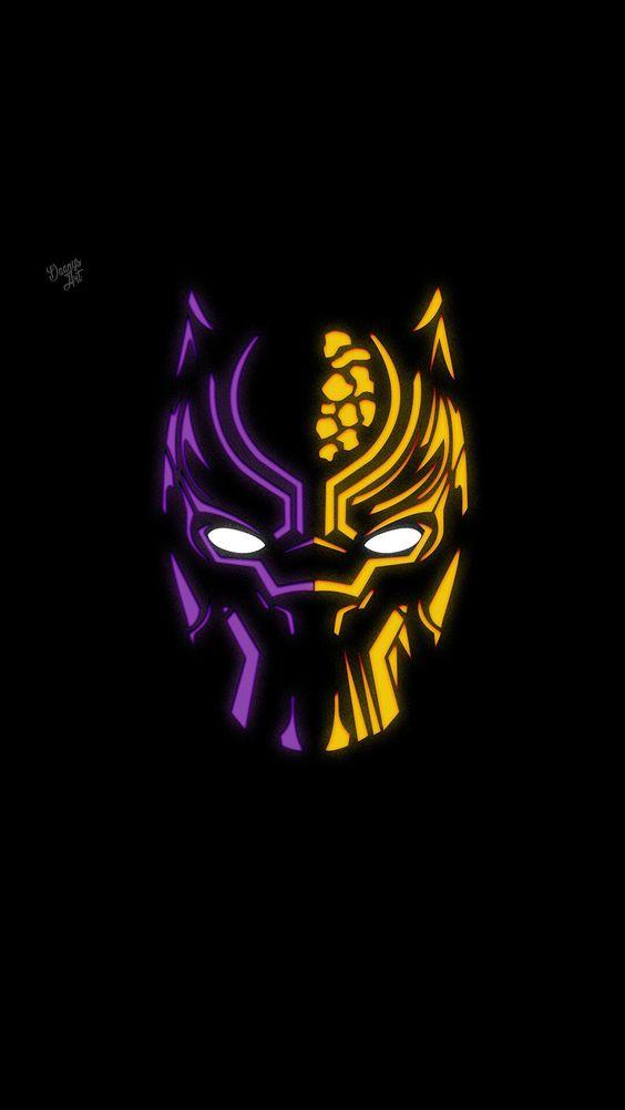 Black Panther Minimal Neon Wallpaper
