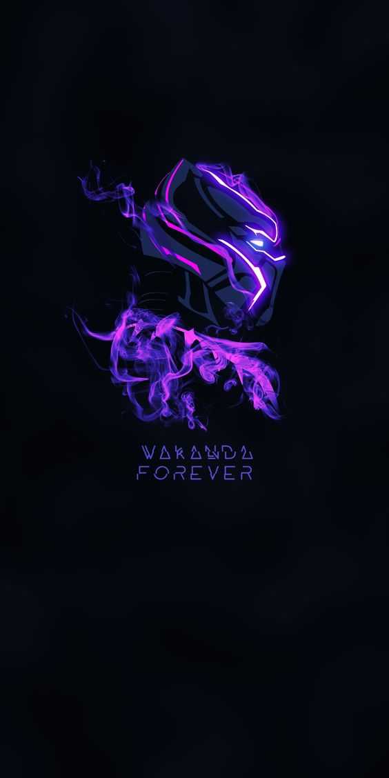 Black Panther Purple Glow Wallpaper