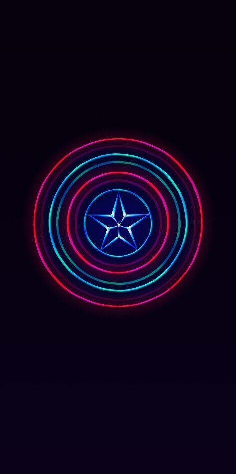 Captain America Shield Neon Wallpaper