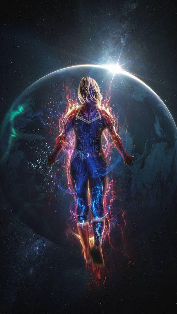 Captain Marvel in Space Wallpaper